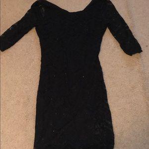 Sparkle Black Lace Mini Dress